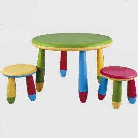 Conjunto mesas y 2 silla alta o taburetes para pequeños redonda cpu2003008