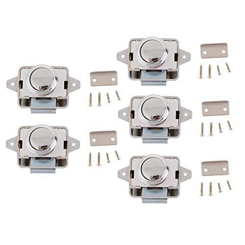 FLAMEER 5X Metall Push Button Verriegelung, Drehknopf Schloß für Wohnmobil - Verriegelung Aus Metall