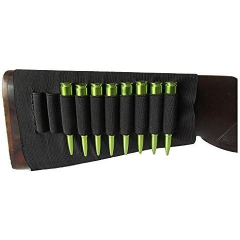 Tourbon Bolsa de Culata Negro de Elástico Soportar 10 Rifle Balas- Dobles Manos