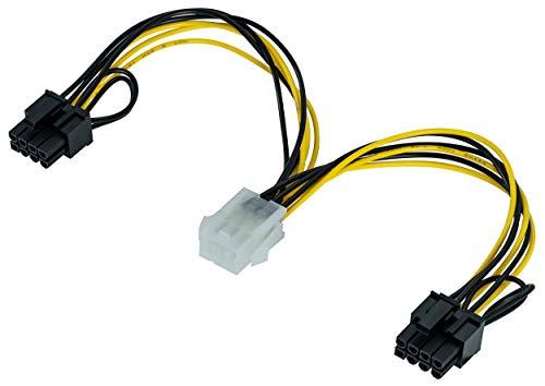 Poppstar - 1x 20cm - Tarjeta gráfica PCI-Express Y Adaptador de cable de alimentación (conector macho PCIe de 6 pines a 2x 6 + 2 pines)