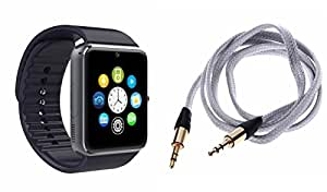 MIRZA Bluetooth GT08 Smart Wrist Watch & AUX Cable for SAMSUNG GALAXY S III NEO+(AUX Cable & GT08 Smart Watch Watch Phone with Camera & SIM Card Support Hot Fashion New Arrival Best Selling Premium Quality Lowest Price with Apps like Facebook,Whatsapp, Twitter, Sports, Health, Pedometer, Sedentary Remind,Compatible with Android iOS Mobile Tablet-Assorted Color)