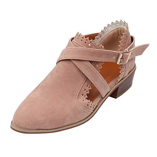 Warm Stiefeletten Damen,Elecenty Frauen Kurzschaft Stiefel Mode Retro Boots Spitzschuh Schuhe...