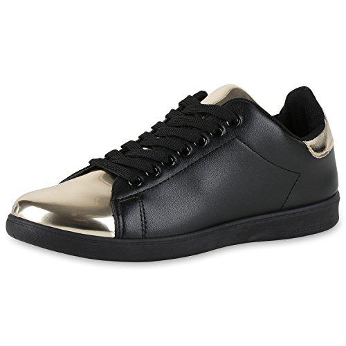 Japado , Sneakers Basses femme Schwarz Gold Nero