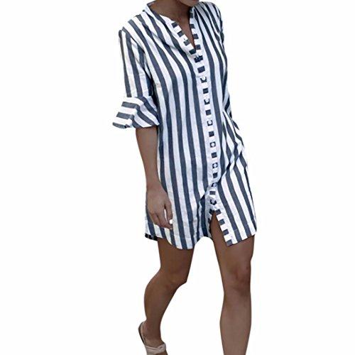 ESAILQ Damen Lässige Blumen Splice-Streifen Druck Rundhalsausschnitt Pullover Bluse Tops T-Shirt(XL,Grau)
