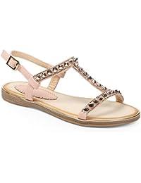 Ideal Shoes - Sandales plates avec bride en T incrustée de clous Magalie