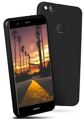 ONEFLOW® Flex-Fit Slimcase [SlimShield PRO] passend für Huawei P10 Lite | Dünn und griffig - Flexible Mischung aus Silikon und TPU, Schwarz -