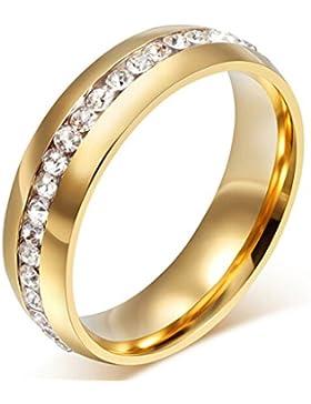 AMDXD Schmuck 18K Vergoldet Gold Damen Ringe Zirkonia Elegante Polished Hochzeit Ringe