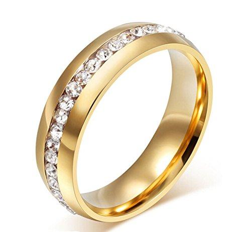 AmDxD Schmuck 18K Vergoldet Gold Damen Ringe Zirkonia Pave Elegante Polished Hochzeit Ehering Größe 60 (19.1)