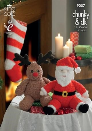 King Cole Santa and Rudolph Toys and Stocking Knitting Pattern