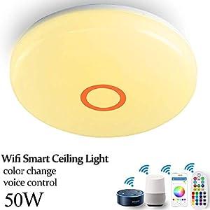 WIFI LED Deckenleuchte dimmbar 50W arbeitet mit Alexa, Google Home, App und Fernbedienung Wifi Smart RGB Farbwechsel LED Deckenlampe