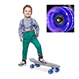 Relaxdays Kinder Transparent mit LED 22 Zoll Komplettboard Skateboard