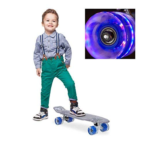 Relaxdays Kinder Transparent mit LED 22 Zoll Komplettboard Skateboard, Blau, One size