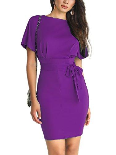 CHICME BEST SHOPPING DEALS Damen Patchwork Waist Belted Mid-Calf Slip Kleid Violett L -