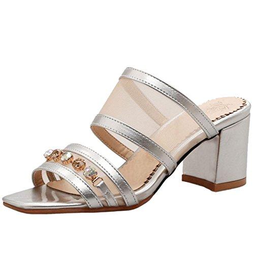 TAOFFEN Damen Mode-Event Open Toe Schlupfschuhe Blockabsatz Open Back Slide Sandalen Silber