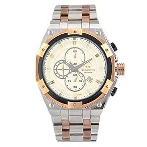 STARDOM 12273M Chronograph Men's Analog Round Sapphire Case Steel Bracelet Strap Wrist Watch - Screw Design | Rose Gold and Silver