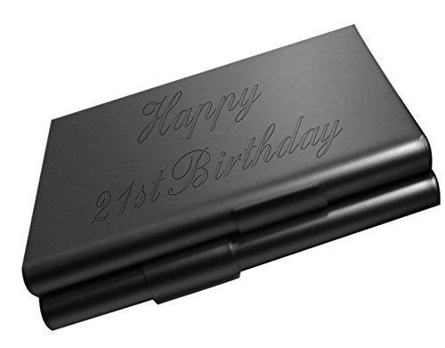 Geburtstag schwarz zigaretten-etui mit schwarzer samt geschenk-etui CCB (21st Geburtstag Zubehör)