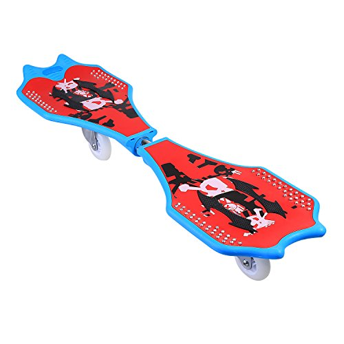 Professional RipStik Bright Caster Board Street Surfing Waveboard With Light -Up Wheels Outdoor Sporting Caster Board Kit (Red)