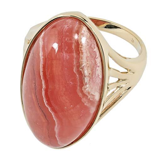 Sogni d'oro Damen Solitär Ring für Frauen Gold Gelbgold 375 (9 Karat) Rhodochrosit RW19