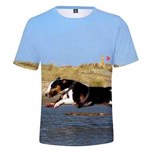 Männer Frühling Sommer Männer T-Shirts 3D Gedruckt Tier t-Shirt Kurzarm Lustige Design Casual Tops Tees Männlich,3D-Druck Cute Pets - A Blue 3XL -