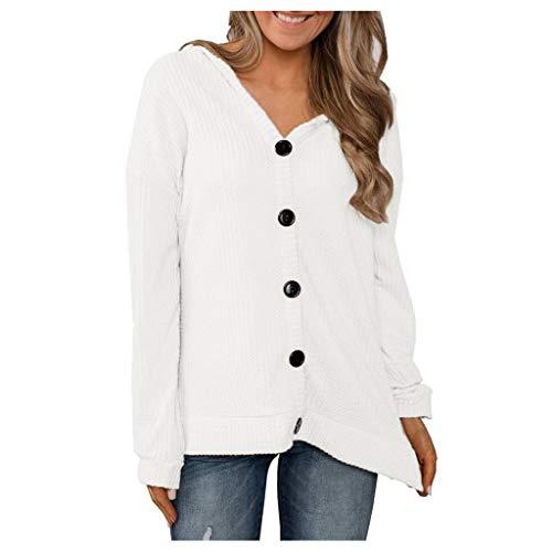 Xiangdanful Damen Strickjacke Cardigan Strickpullover Button-down Kapuzenjacke Sweater Bluse Oberteil Hoodies Strick Pulli Langarmshirt Jumper Causal Tunika Solid Dünne Mantle (L, Weiß) -