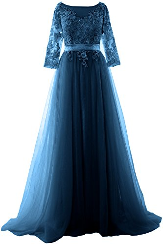 MACloth Elegant Half Sleeve Prom Dress Lace Tulle Maxi Evening Formal Gown Teal