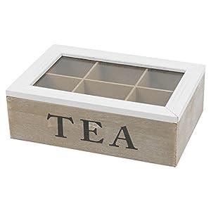 Blanc Lid-brown Boîte en bois Boîte à thé à 6sections