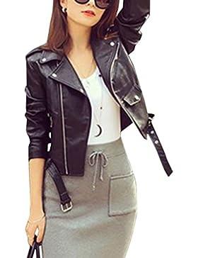 cazadora de la mujer chaquetas corta con cremallera De Pu Cuero Abrigo Informal