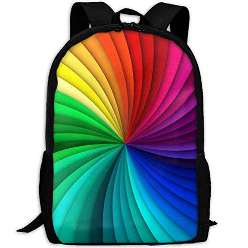 st Durable Lightweight Travel Laptop Backpack One Size Rainbow Swirl Background ()
