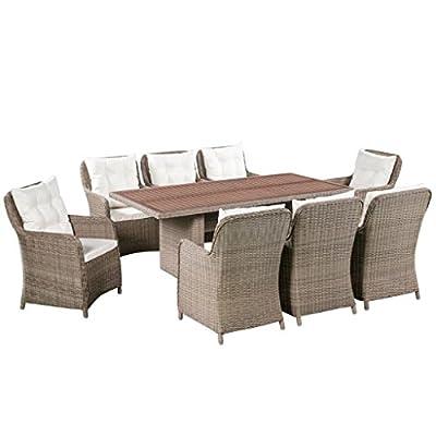vidaXL Garten Essgruppe 25-TLG. Poly Rattan Gartenmöbel Akazienholz Tischplatte von vidaXL - Gartenmöbel von Du und Dein Garten