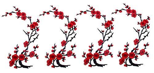 4 Stück Blumen Eisen auf Patches Stickerei Nähen Eisen auf Applique für Taschen Jacken Trim Patches Stickerei Blume Stoff Applique -