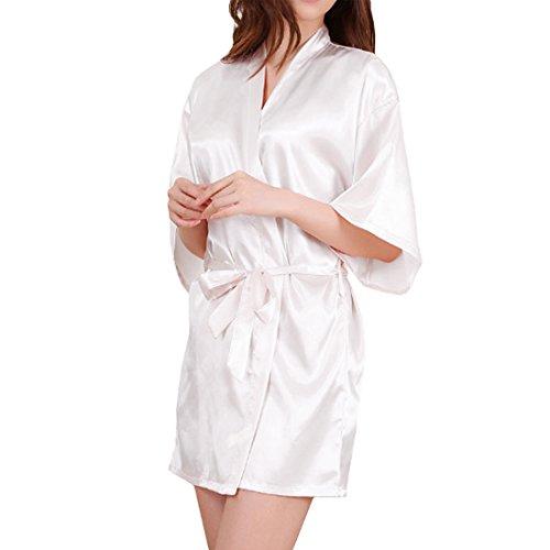 SiDiOU Group Nacht Robe für Frauen Satin Dressing Kleider Robe Imitation Seide Kimono Satin Lingerie Spitze Nachtwäsche Sexy Eis Seide Nachtwäsche (M, Style 2-Weiß) (Spitze Robe Lange)