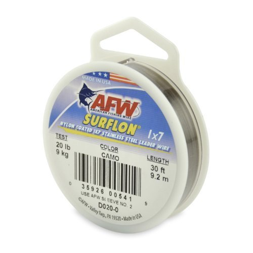 American Fishing Wire Surflon Nylon Coated 1 x 7 Stainless Steel Leader Wire, Camo Brown Color, 20 Pound Test, 30-feet by American Fishing Wire