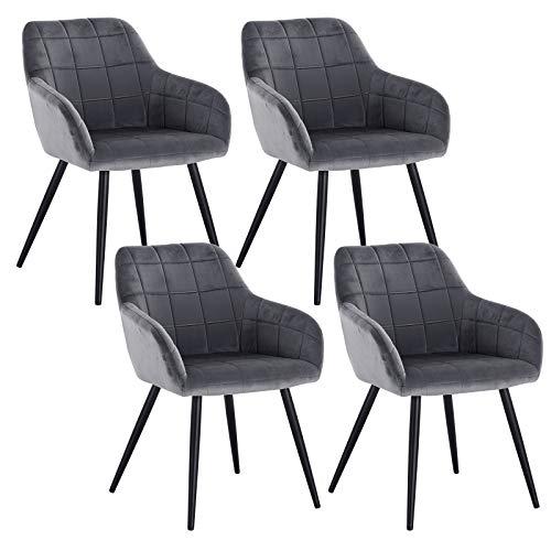 WOLTU 4 x Esszimmerstühle 4er Set Esszimmerstuhl Küchenstuhl Polsterstuhl Design Stuhl mit Armlehne, mit Sitzfläche aus Samt, Gestell aus Metall, Dunkelgrau, BH93dgr-4 -