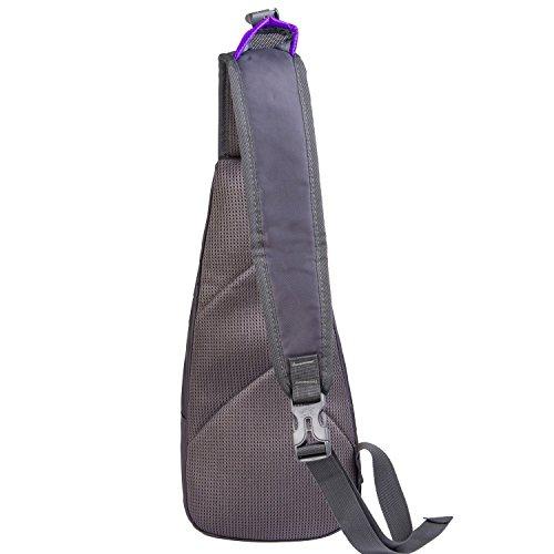 Männer Brusttasche Bauchtasche klein Nylon wasserdicht Brustbeutel Umhängetasche Schultertasche für Reise Camping Hiking und Freiheit Violett