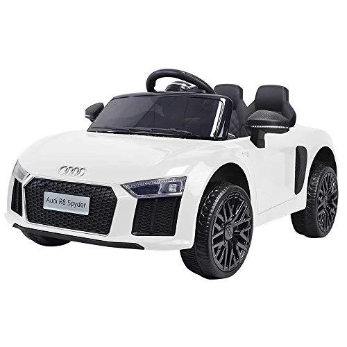 Toyscar electronic way to drive auto macchina elettrica 12v licenza r8 spyder per bambini led mp3 con telecomando sedile in pelle