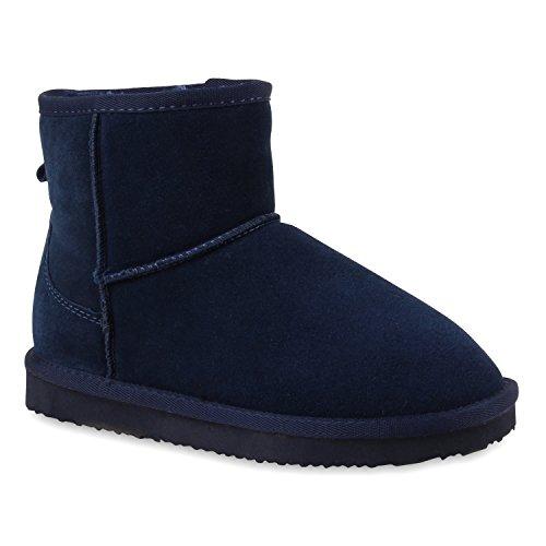 Damen Stiefeletten Leder Schlupfstiefel Boots Kostüm Skostüm Indianer Fransen Squaw Pocahontas Schuhe 109644 Dunkelblau 37 Flandell (Fransen-boots Für Frauen Blaue)