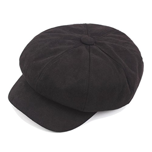 FEITONG Frauen Retro Achteckiger Hut Damen Winter Warmer Berets Hut Schirmmütze Barett Maler Mütze (1PC, Schwarz) (Russischen Hut Für Frauen)