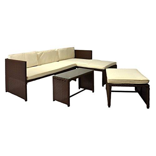 Nexos Rattan Sitzecke Mit Tisch Poly Rattan Garnitur Sitzgruppe Gartenmöbel  Terrasse Braun