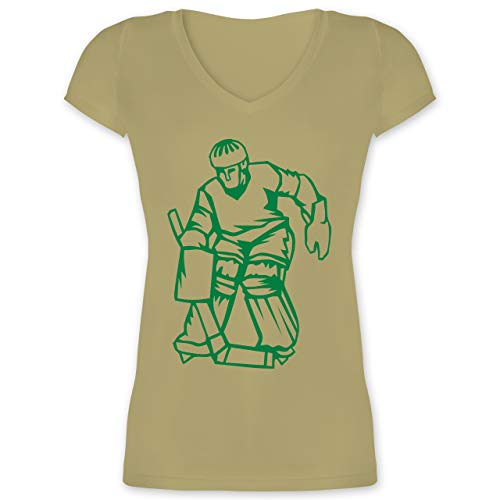 Eishockey - Eishockeyspieler grün - XS - Olivgrün - XO1525 - Damen T-Shirt mit V-Ausschnitt