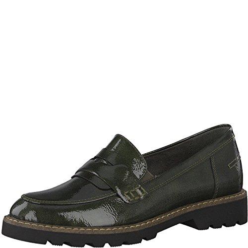 Tamaris Damen Slipper 24312-21,Frauen Schlüpfschuh,Slip-on,modisch,Freizeitschuh,Blockabsatz 3cm,Dark Olive PAT,EU 36