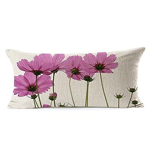 Poens Dream Housse de Coussin, Pink Flowers Printed Cotton Linen Decorative Pillow Cushion Cover, 11.8 x 19.7inches