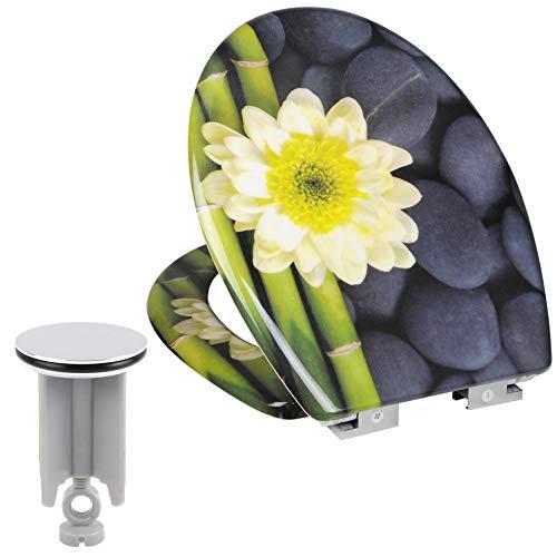 Toilettensitz mit Absenkautomatik,aus Duroplast, WC Sitz Softclose Scharnier, Antibakteriell, Waschbeckenstöpsel Set
