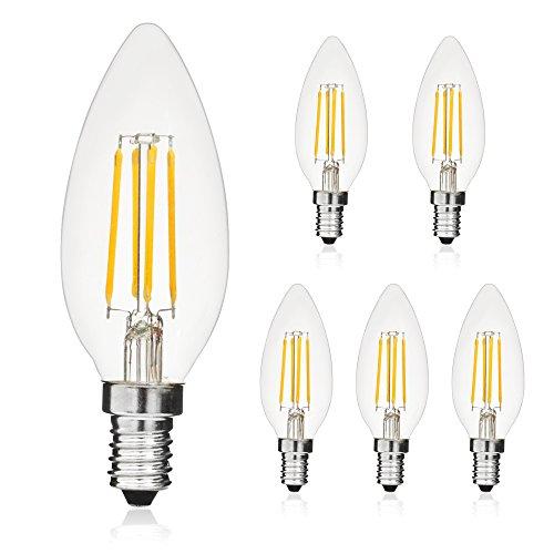 LED E14 Edison Lampe ersetzt 40 Watt, 4W, 400 Lumen, 2700K warmweiß, LED Kerzen Filament Fadenlampe, 360° 230V AC, nur im Glas, 5er Pack - 400 Dekorative Akzente