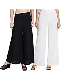 Mango People Products Indian Ethnic Rayon Designer Plain Casual Wear Palazzo Pant For Women's (Black And White...