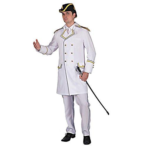 Kostüm Admiral Seemannsjacke Gehrock Kurzmantel weiß Marine Matrose (50/52)