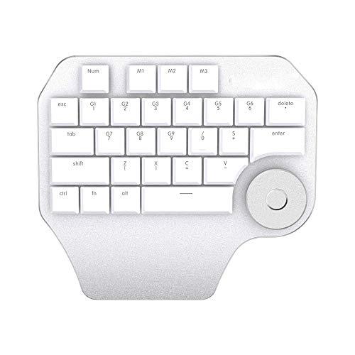 ZJTA Multimedia-Tastatur, T11 Designer-Tastatur mit Smart Dialing 3 Sets of Custom Keys Mechanische Einhand-Mini-Game-Tastatur für Spieler-Computer,White (Einhand-set 3)