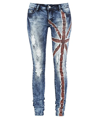 Dressation Donna Blu distruggere Ripped Distressed Jeans Skinny pantaloni Blue 50