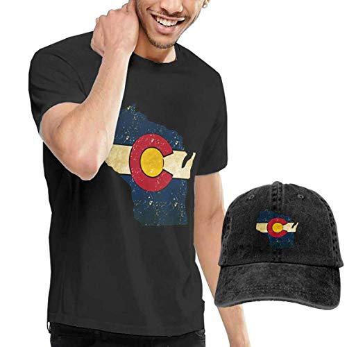 SOTTK Herren Kurzarmshirt Wisconsin Outline Colorado Flag Men's Short Sleeve T Shirt & Washed Adjustable Baseball Cap Hat