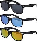 Original Balinco UV400 CAT 3 CE Vintage Unisex Retro Wayfarer Sonnenbrille - verschiedene Farben in Einzel - Doppelpack & Dreierpack wählbar (Dreierpack - Rahmen: Schwarz Matt, Gläser: 1 x Schwarz, 1 x Blau verspiegelt, 1x Rot verspiegelt)
