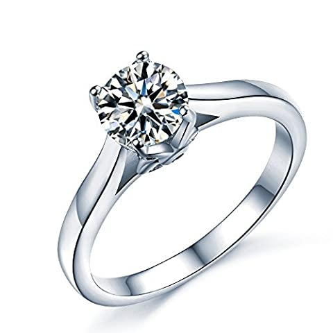 925 Sterling Silver Brilliant Round Cut Floral Solitaire Promise Forever Eternity Engagement Wedding Rings for women, teenage girls, Size UK M J L K N P Q R O S, with Gift Box, Ideal Gift for Lovers